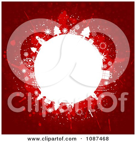 Clipart Red Background With A White Christmas Globe - Royalty Free Vector Illustration by KJ Pargeter
