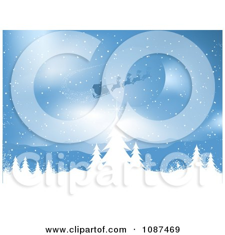 Clipart Santa And His Sleigh Flying Over A Blue Winter Landscape - Royalty Free Vector Illustration by KJ Pargeter