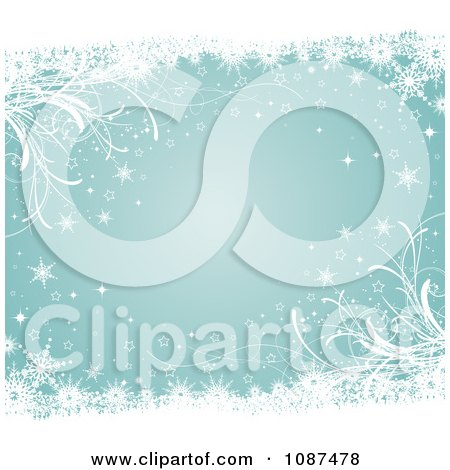 Clipart Turquoise Winter Background With Grasses And Snowflakes - Royalty Free Vector Illustration by KJ Pargeter