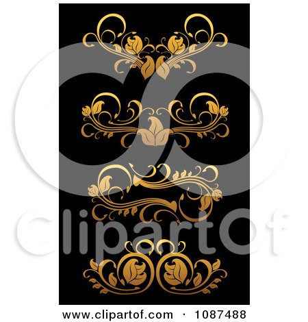Clipart Ornate Golden Flourish Border Design Elements 2 - Royalty Free Vector Illustration by Vector Tradition SM