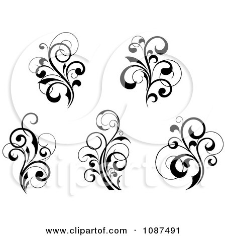 Clipart Black And White Flourish Motif Design Elements 2 - Royalty Free Vector Illustration by Vector Tradition SM