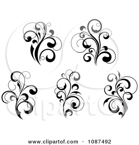 Clipart Black And White Flourish Motif Design Elements 1 - Royalty Free Vector Illustration by Vector Tradition SM