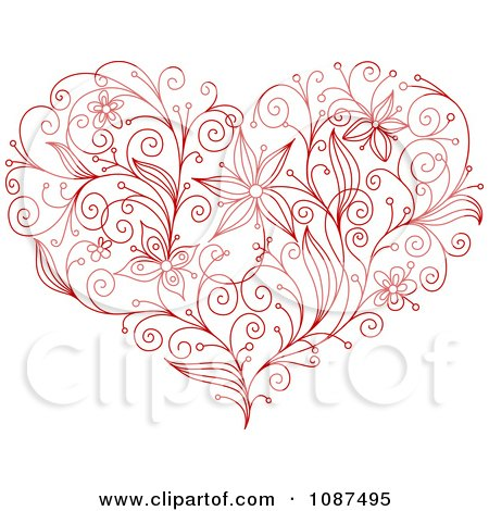 Clipart Sketched Red Floral Heart - Royalty Free Vector Illustration by Vector Tradition SM