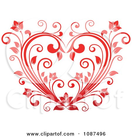 Clipart Red Floral Vine Heart - Royalty Free Vector Illustration by Vector Tradition SM