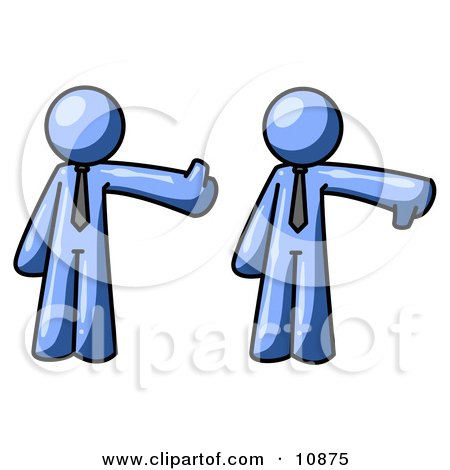 Expressive Blue Business Man Giving the Thumbs Up Then the Thumbs Down Clipart Illustration by Leo Blanchette