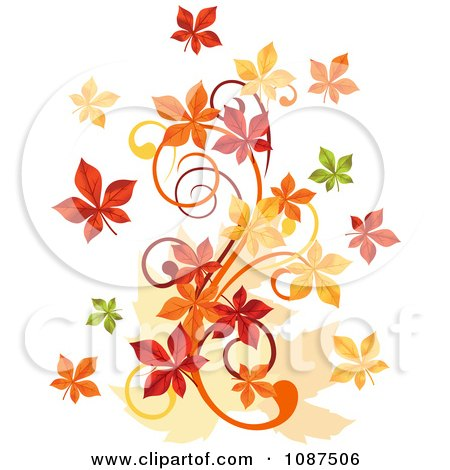 Clipart Autumn Leaf Swirl - Royalty Free Vector Illustration by Vector Tradition SM