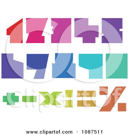 Clipart Colorful Blocky Numbers - Royalty Free Vector Illustration by yayayoyo