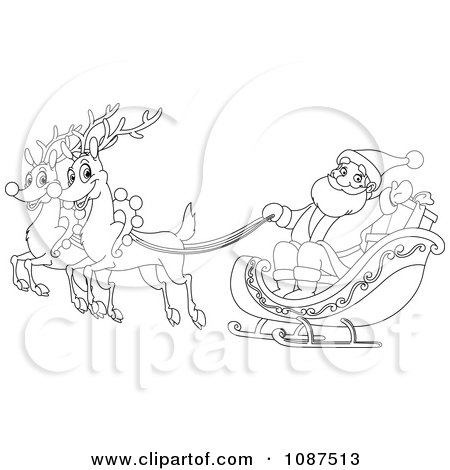 Clipart Outlined Santa And Flying Reindeer - Royalty Free Vector Illustration by yayayoyo