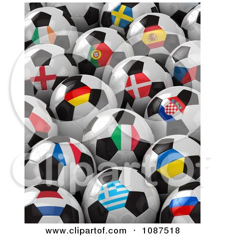 Clipart 3d Flag Soccer Balls Of The 2012 European Championship - Royalty Free CGI Illustration by stockillustrations