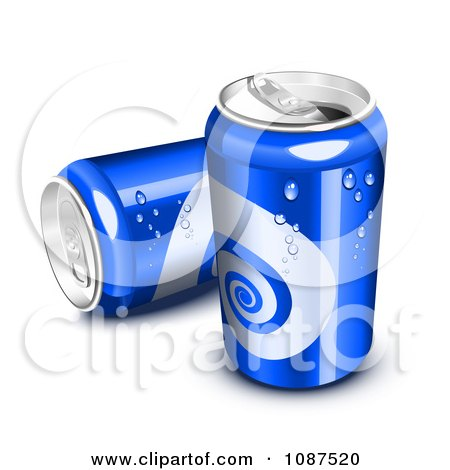 Clipart 3d Blue Sweating Soda Cans - Royalty Free Vector Illustration by Oligo
