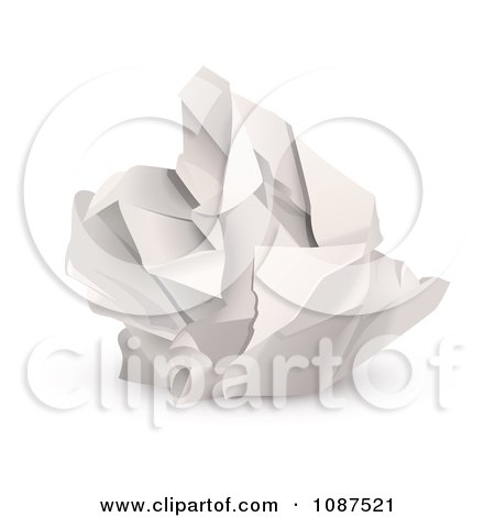 Clipart 3d Ball Of Crumpled Up Paper - Royalty Free Vector Illustration by Oligo