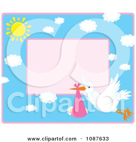 Clipart Cute Stork Flying A Baby Girl Invitation With Pink Copyspace - Royalty Free Vector Illustration by Alex Bannykh