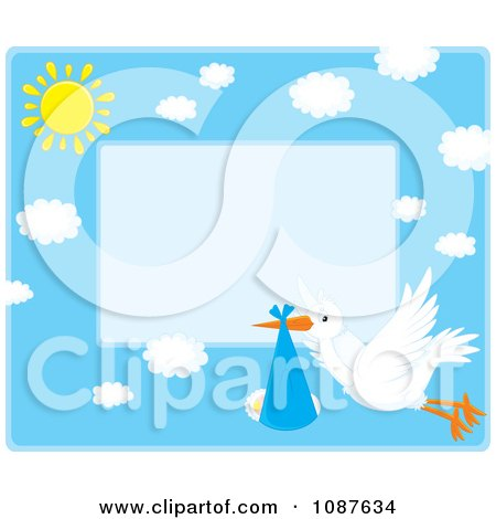Clipart Cute Stork Flying A Baby Boy Invitation With Blue Copyspace - Royalty Free Vector Illustration by Alex Bannykh
