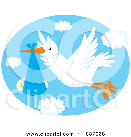 Clipart Cute White Stork Flying A Baby In A Blue Blanket - Royalty Free Vector Illustration by Alex Bannykh