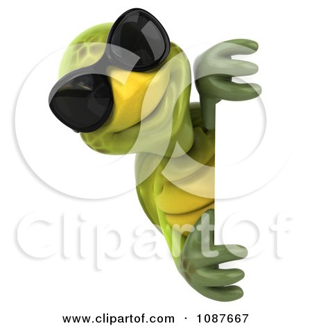 Clipart 3d Happy Tortoise Wearing Shades Around A Sign - Royalty Free CGI Illustration by Julos