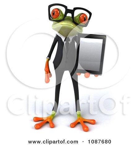 3d Business Springer Frog Holding A Tablet 1 Posters, Art Prints