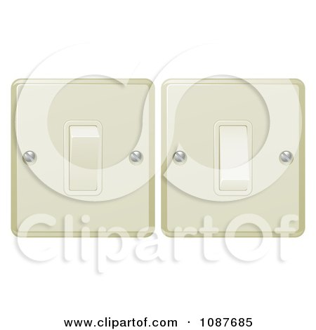 Clipart 3d Beige Flip Light Switches On And Off - Royalty Free Vector Illustration by AtStockIllustration