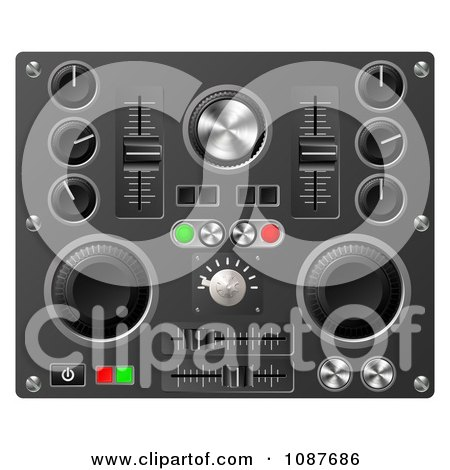 Clipart 3d Mixing Desk Buttons Knobs And Switches - Royalty Free Vector Illustration by AtStockIllustration