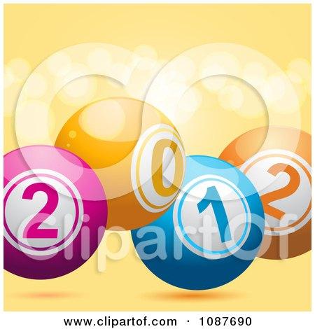 Clipart 3d New Year 2012 Bingo Or Lottery Balls Over Orange Flares - Royalty Free Vector Illustration by elaineitalia