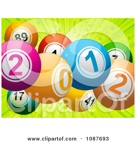 Clipart 3d New Year 2012 Bingo Or Lottery Balls Over Green Rays - Royalty Free Vector Illustration by elaineitalia