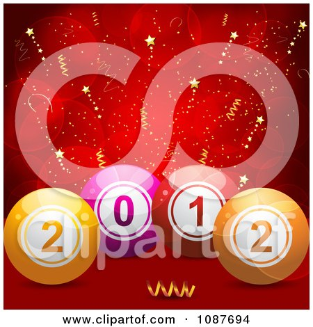 Clipart 3d New Year 2012 Bingo Or Lottery Balls Over Red With Stars - Royalty Free Vector Illustration by elaineitalia