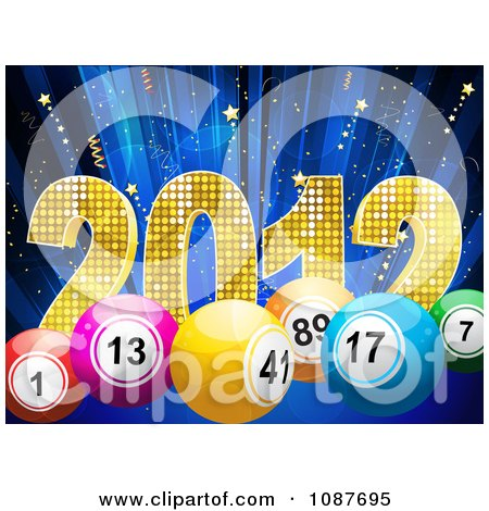 Clipart 3d New Year 2012 With Bingo Or Lottery Balls Over Blue With Stars - Royalty Free Vector Illustration by elaineitalia