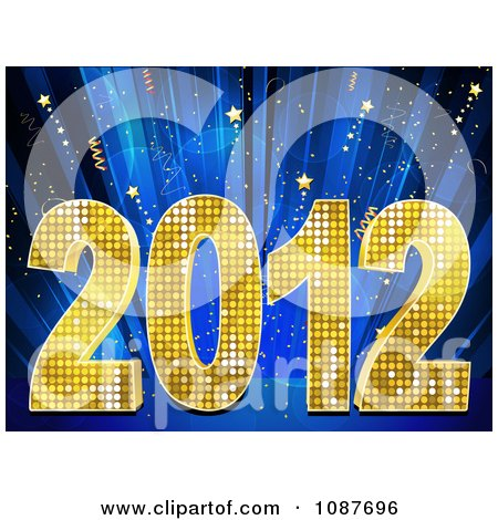 Clipart Golden 2012 New Year Over Blue Rays And Stars - Royalty Free Vector Illustration by elaineitalia