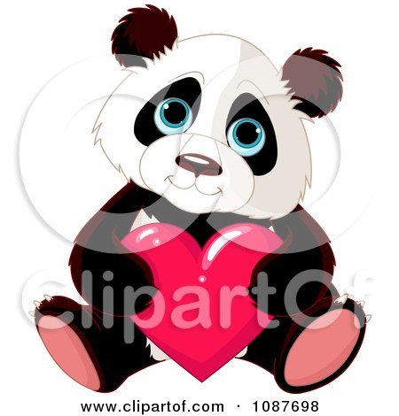Clipart Cute Valentine Panda Holding A Heart - Royalty Free Vector Illustration by Pushkin