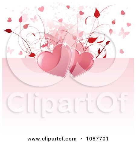 Valentine Clip  on Clipart Pink And White Floral Heart Butterfly Valentine Background