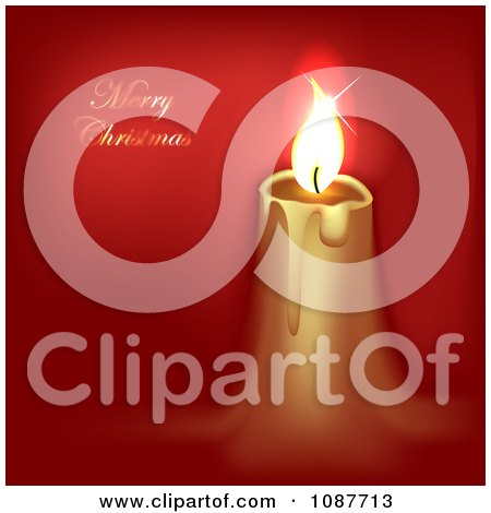 Clipart Gold Candle And Merry Christmas Greeting On Red - Royalty Free Illustration by vectorace