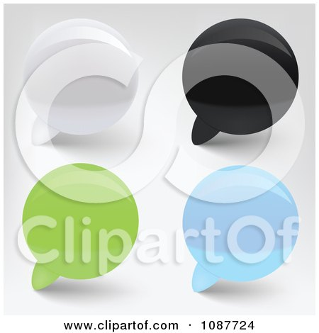 Clipart 3d White Black Green And Blue Speech Bubbles - Royalty Free Vector Illustration by vectorace