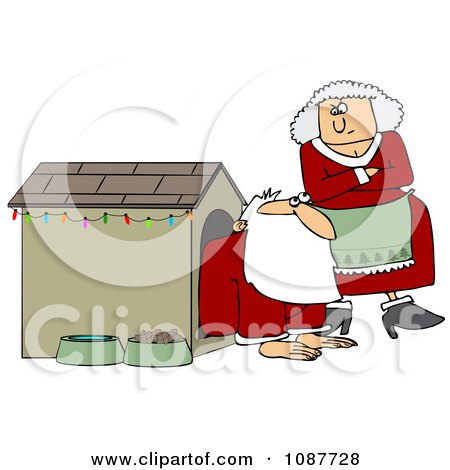 Clipart Mrs Clause Tapping Her Foot And Staring At Santa In A Dog House - Royalty Free Vector Illustration by djart