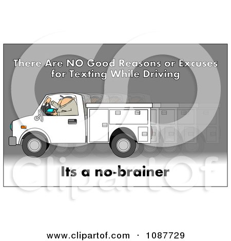 Clipart Worker Texting And Driving A Truck With A Safety Warning - Royalty Free Illustration by djart