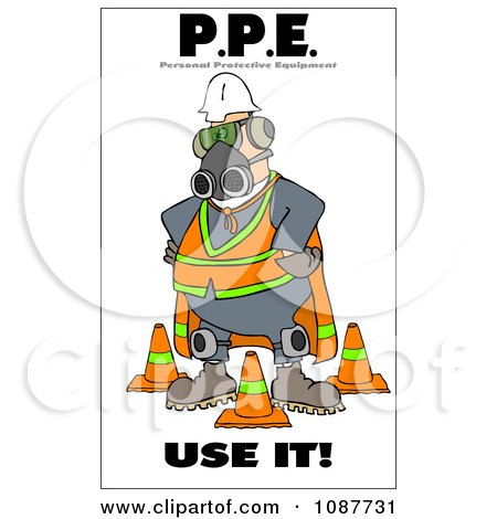 Clipart Worker Covered In Protective Gear With A Safety Warning - Royalty Free Illustration by djart
