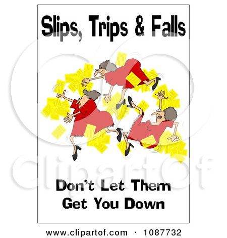 Clipart Woman Slipping With A Safety Warning - Royalty Free Illustration by djart