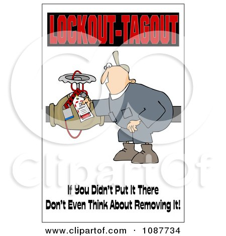 Clipart Electrician With A Safety Warning - Royalty Free Illustration by djart