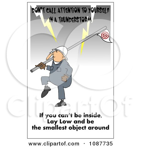 Clipart Worker Carrying A Flag Pole In A Lightning Storm With A Safety Warning - Royalty Free Illustration by djart