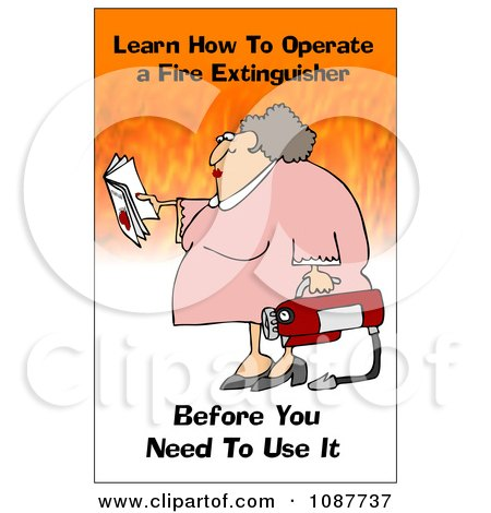 Clipart Woman Holding A Fire Extinguisher With A Safety Warning - Royalty Free Illustration by djart