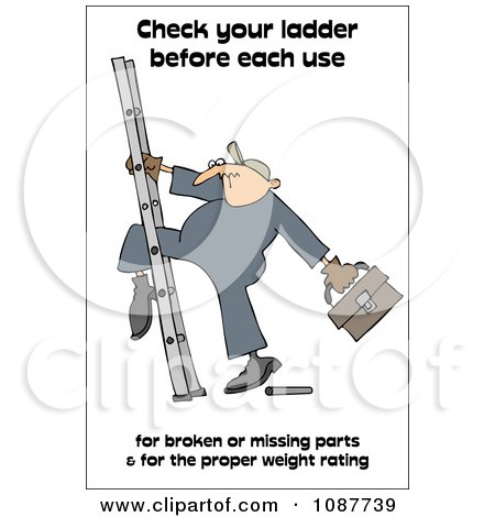 Clipart Worker Climbing A Ladder With A Safety Warning - Royalty Free Illustration by djart