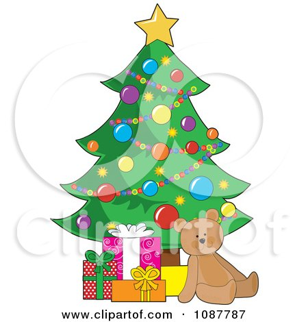 Clipart Teddy Bear And Gift Boxes Under A Christmas Tree - Royalty Free Vector Illustration by Maria Bell