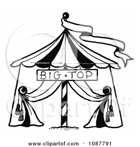 Clipart Sketched Circus Big Top Tent And Banner - Royalty Free Vector Illustration by LoopyLand
