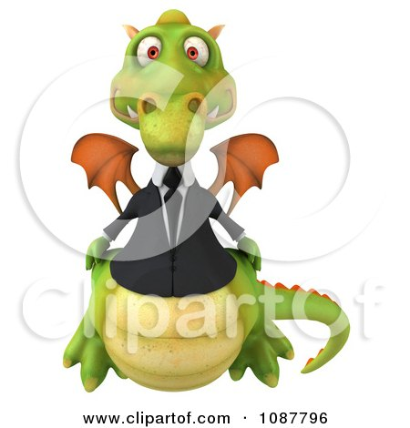 Clipart 3d Green Business Dragon Facing Front - Royalty Free CGI Illustration by Julos