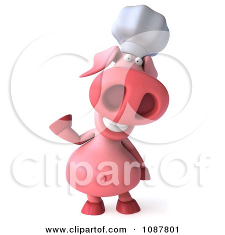 Clipart 3d Chef Pig Waving - Royalty Free CGI Illustration by Julos