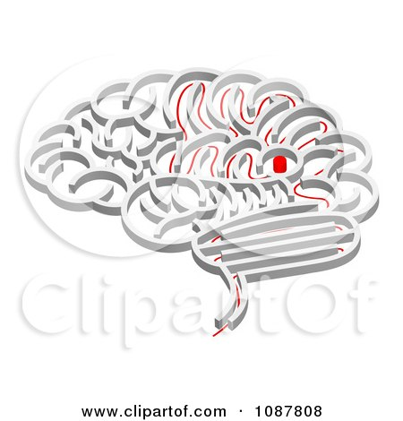 Clipart 3d Brain Shaped Maze With A Red Path Leading To The Center - Royalty Free Vector Illustration by AtStockIllustration