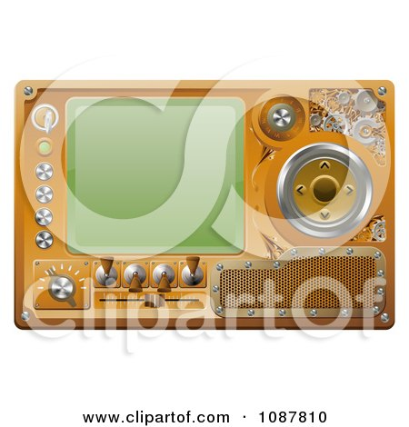 Clipart 3d Steampunk Media Player Screen And Control Panel - Royalty Free Vector Illustration by AtStockIllustration