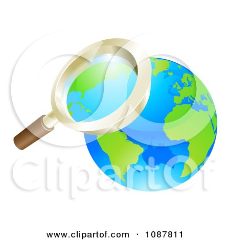 Clipart 3d Zoom Magnifying Glass Over Earth - Royalty Free Vector Illustration by AtStockIllustration