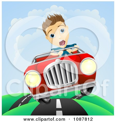 Clipart Scared Man Losing Control Of His Vintage Sports Car - Royalty Free Vector Illustration by AtStockIllustration