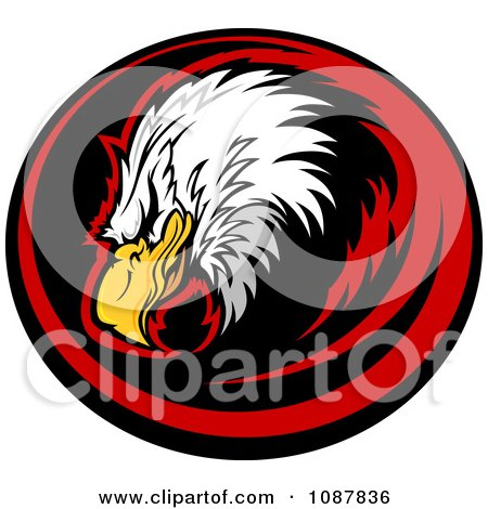 Clipart Bald Eagle Head Mascot In A Red And Black Circle - Royalty Free Vector Illustration by Chromaco