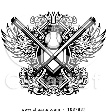 Clipart Black And White Winged Baseball Shield With Crossed Bats And Home Base Plate - Royalty Free Vector Illustration by Chromaco