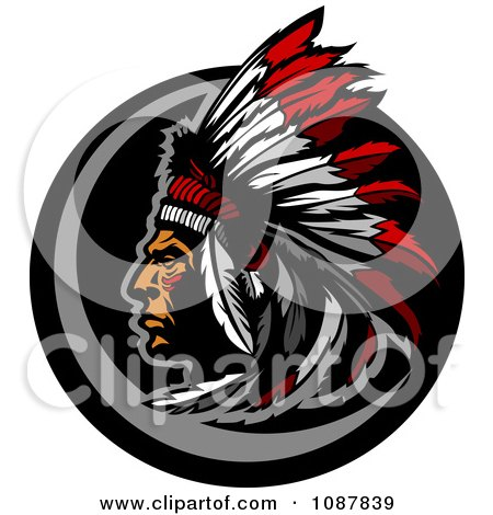 Clipart Native American Chief Profile With A Feather Headdress - Royalty Free Vector Illustration by Chromaco